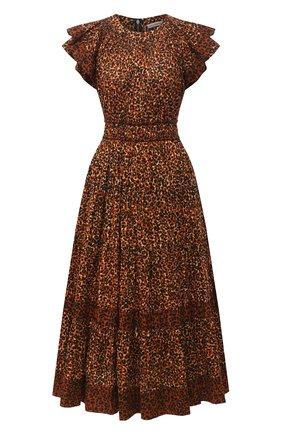 Женское хлопковое платье ULLA JOHNSON леопардового цвета, арт. PF200116 | Фото 1