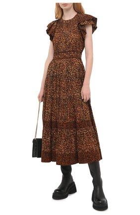 Женское хлопковое платье ULLA JOHNSON леопардового цвета, арт. PF200116 | Фото 2