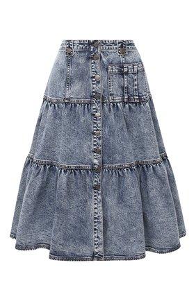 Женская джинсовая юбка ULLA JOHNSON голубого цвета, арт. PF200300 | Фото 1