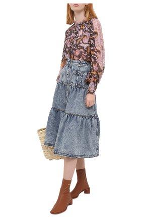 Женская джинсовая юбка ULLA JOHNSON голубого цвета, арт. PF200300 | Фото 2