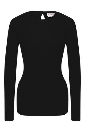 Женский шерстяной пуловер ALEXANDER MCQUEEN черного цвета, арт. 634259/Q1AQL   Фото 1