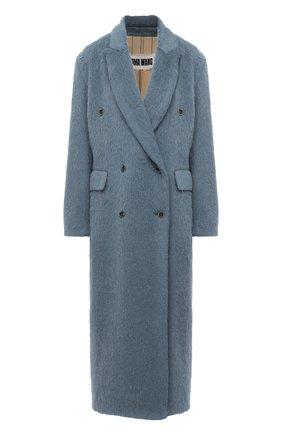 Женское пальто UMA WANG бирюзового цвета, арт. A0 W UW8014 | Фото 1 (Материал внешний: Шерсть; Рукава: Длинные; Материал подклада: Вискоза, Купро; Стили: Кэжуэл)