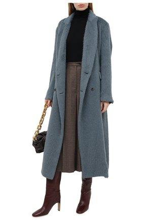 Женское пальто UMA WANG бирюзового цвета, арт. A0 W UW8014 | Фото 2 (Материал внешний: Шерсть; Рукава: Длинные; Материал подклада: Вискоза, Купро; Стили: Кэжуэл)