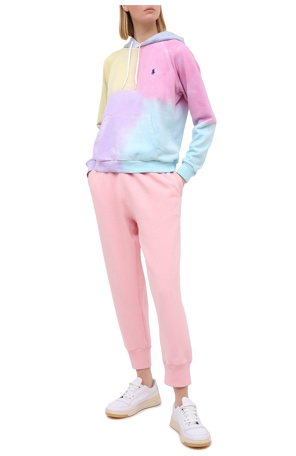 Женские хлопковые джоггеры POLO RALPH LAUREN светло-розового цвета, арт. 211794397   Фото 2
