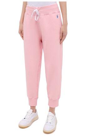 Женские хлопковые джоггеры POLO RALPH LAUREN светло-розового цвета, арт. 211794397   Фото 3