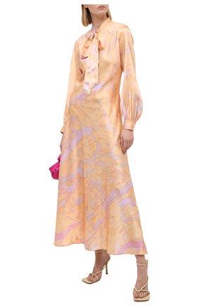 Женское шелковое платье POLO RALPH LAUREN оранжевого цвета, арт. 211800615 | Фото 2