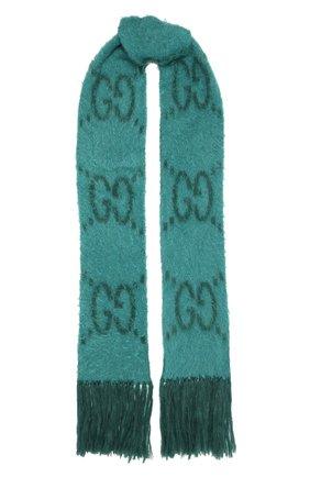 Женский шарф GUCCI бирюзового цвета, арт. 638680/3GF96   Фото 1
