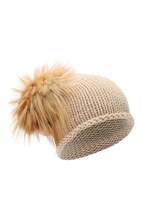Женская вязаная шапка из кашемира с меховым помпоном INVERNI бежевого цвета, арт. 2922CMG2   Фото 1
