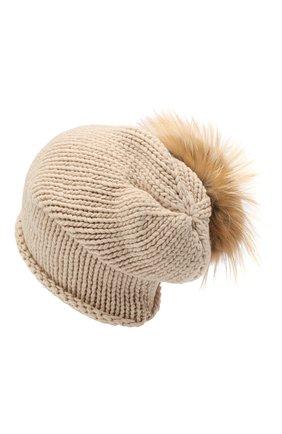 Женская вязаная шапка из кашемира с меховым помпоном INVERNI бежевого цвета, арт. 2922CMG2   Фото 2