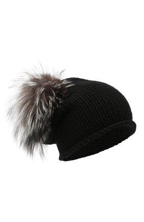 Женская вязаная шапка из кашемира с меховым помпоном INVERNI черного цвета, арт. 2922CMG2   Фото 1