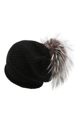 Женская вязаная шапка из кашемира с меховым помпоном INVERNI черного цвета, арт. 2922CMG2   Фото 2