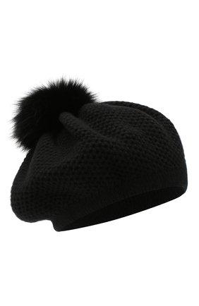 Женская кашемировая шапка INVERNI черного цвета, арт. 4732CMG1   Фото 1