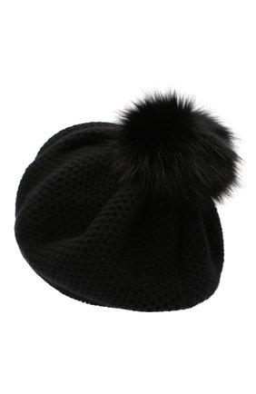 Женская кашемировая шапка INVERNI черного цвета, арт. 4732CMG1   Фото 2
