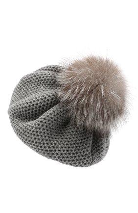 Женский кашемировая шапка INVERNI светло-серого цвета, арт. 4732CMG1   Фото 2