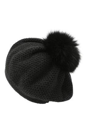 Женский кашемировая шапка INVERNI темно-серого цвета, арт. 4732CMG1   Фото 2