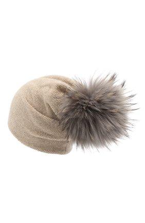 Женская кашемировая шапка INVERNI бежевого цвета, арт. 4943CM   Фото 2