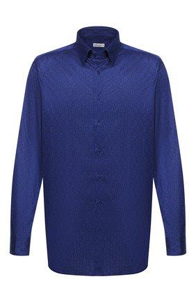 Мужская хлопковая сорочка ZILLI синего цвета, арт. MFU-56064-@/0006 | Фото 1 (Материал внешний: Хлопок; Длина (для топов): Стандартные; Рукава: Длинные; Мужское Кросс-КТ: Сорочка-одежда; Принт: С принтом; Случай: Формальный; Стили: Классический; Манжеты: На пуговицах; Воротник: Кент)