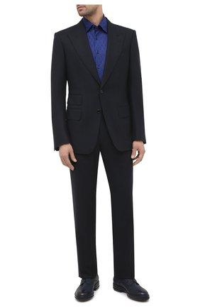 Мужская хлопковая сорочка ZILLI синего цвета, арт. MFU-56064-@/0006 | Фото 2 (Материал внешний: Хлопок; Длина (для топов): Стандартные; Рукава: Длинные; Мужское Кросс-КТ: Сорочка-одежда; Принт: С принтом; Случай: Формальный; Стили: Классический; Манжеты: На пуговицах; Воротник: Кент)