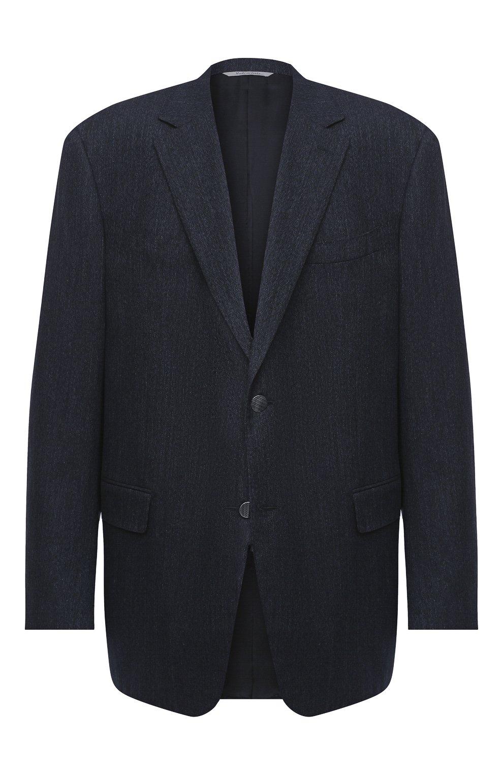 Мужской хлопковый пиджак CANALI темно-синего цвета, арт. 11280/AV02733/60-64   Фото 1