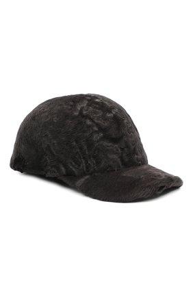 Мужской бейсболка из меха каракуля KUSSENKOVV темно-серого цвета, арт. 387100086003 | Фото 1