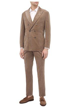 Мужские замшевые лоферы BRUNELLO CUCINELLI коричневого цвета, арт. MZUCEMQ879 | Фото 2 (Материал внутренний: Натуральная кожа; Мужское Кросс-КТ: Лоферы-обувь; Стили: Кэжуэл)