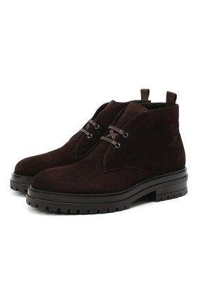 Мужские замшевые ботинки GIANVITO ROSSI темно-коричневого цвета, арт. U05650.20G0M.SFUM0M0 | Фото 1