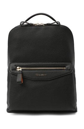 Мужской кожаный рюкзак SANTONI черного цвета, арт. UIBBA2007LI-HMA1N01 | Фото 1