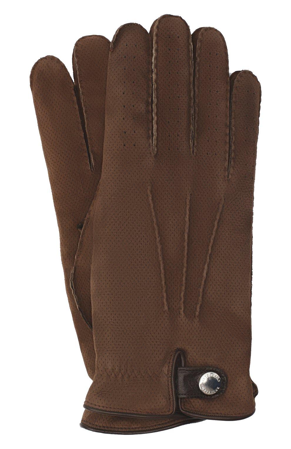 Мужские кожаные перчатки BRUNELLO CUCINELLI коричневого цвета, арт. MPMT93608 | Фото 1