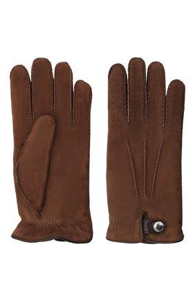 Мужские кожаные перчатки BRUNELLO CUCINELLI коричневого цвета, арт. MPMT93608 | Фото 2