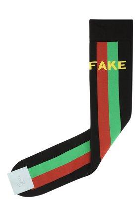 Мужские хлопковые носки «fake/not» GUCCI черного цвета, арт. 636395/4G157 | Фото 1