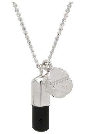 Мужского серебряная цепь с кулоном AMBUSH черного цвета, арт. BM0B024F20MET001 | Фото 2