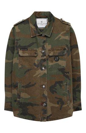 Детская джинсовая куртка PHILIPP PLEIN хаки цвета, арт. F20C GRA0068 PTE003N | Фото 1