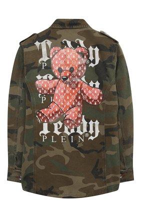 Детская джинсовая куртка PHILIPP PLEIN хаки цвета, арт. F20C GRA0068 PTE003N | Фото 2