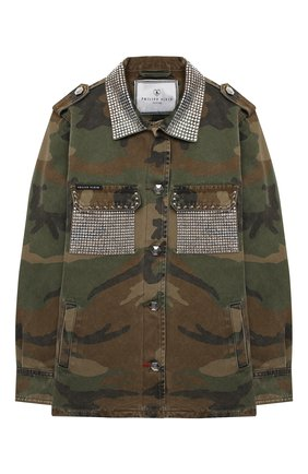 Детская джинсовая куртка PHILIPP PLEIN хаки цвета, арт. F20C GRA0070 PTE003N | Фото 1