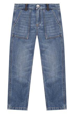 Детские джинсы BRUNELLO CUCINELLI голубого цвета, арт. B0Z37D302B   Фото 1