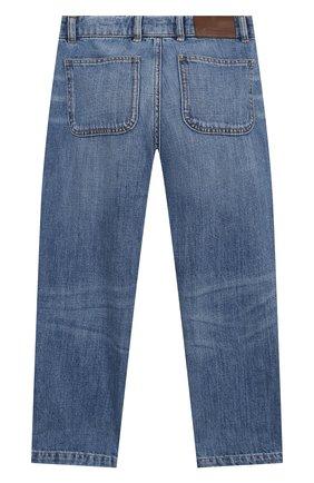 Детские джинсы BRUNELLO CUCINELLI голубого цвета, арт. B0Z37D302B   Фото 2