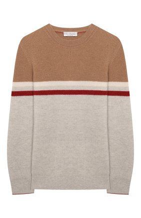 Детский кашемировый пуловер BRUNELLO CUCINELLI светло-серого цвета, арт. B22M10200B | Фото 1