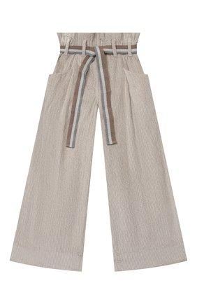 Детские хлопковые брюки BRUNELLO CUCINELLI серого цвета, арт. BB543P024C | Фото 1