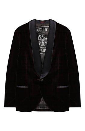 Детский бархатный пиджак BRUNELLO CUCINELLI бордового цвета, арт. BQ401S703C   Фото 1 (Материал внешний: Хлопок; Материал подклада: Купро; Рукава: Длинные; Кросс-КТ: пиджак; Ростовка одежда: 12 лет   152 см)