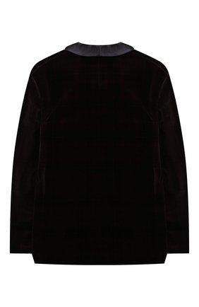 Детский бархатный пиджак BRUNELLO CUCINELLI бордового цвета, арт. BQ401S703C   Фото 2 (Материал внешний: Хлопок; Материал подклада: Купро; Рукава: Длинные; Кросс-КТ: пиджак; Ростовка одежда: 12 лет   152 см)