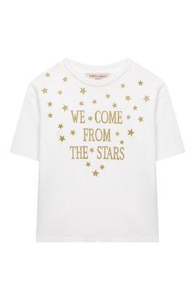 Детская хлопковая футболка ALBERTA FERRETTI JUNIOR белого цвета, арт. 026143 | Фото 1