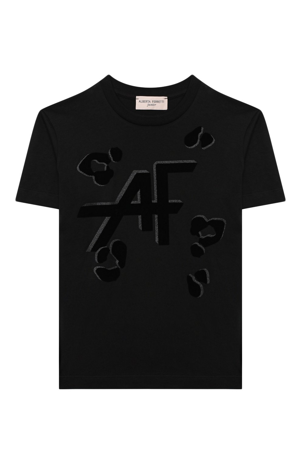 Детская хлопковая футболка ALBERTA FERRETTI JUNIOR черного цвета, арт. 025391   Фото 1