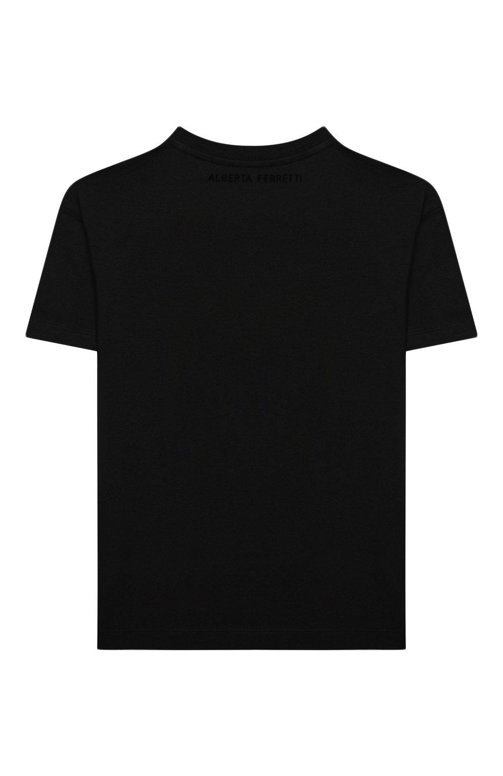 Детская хлопковая футболка ALBERTA FERRETTI JUNIOR черного цвета, арт. 025391   Фото 2
