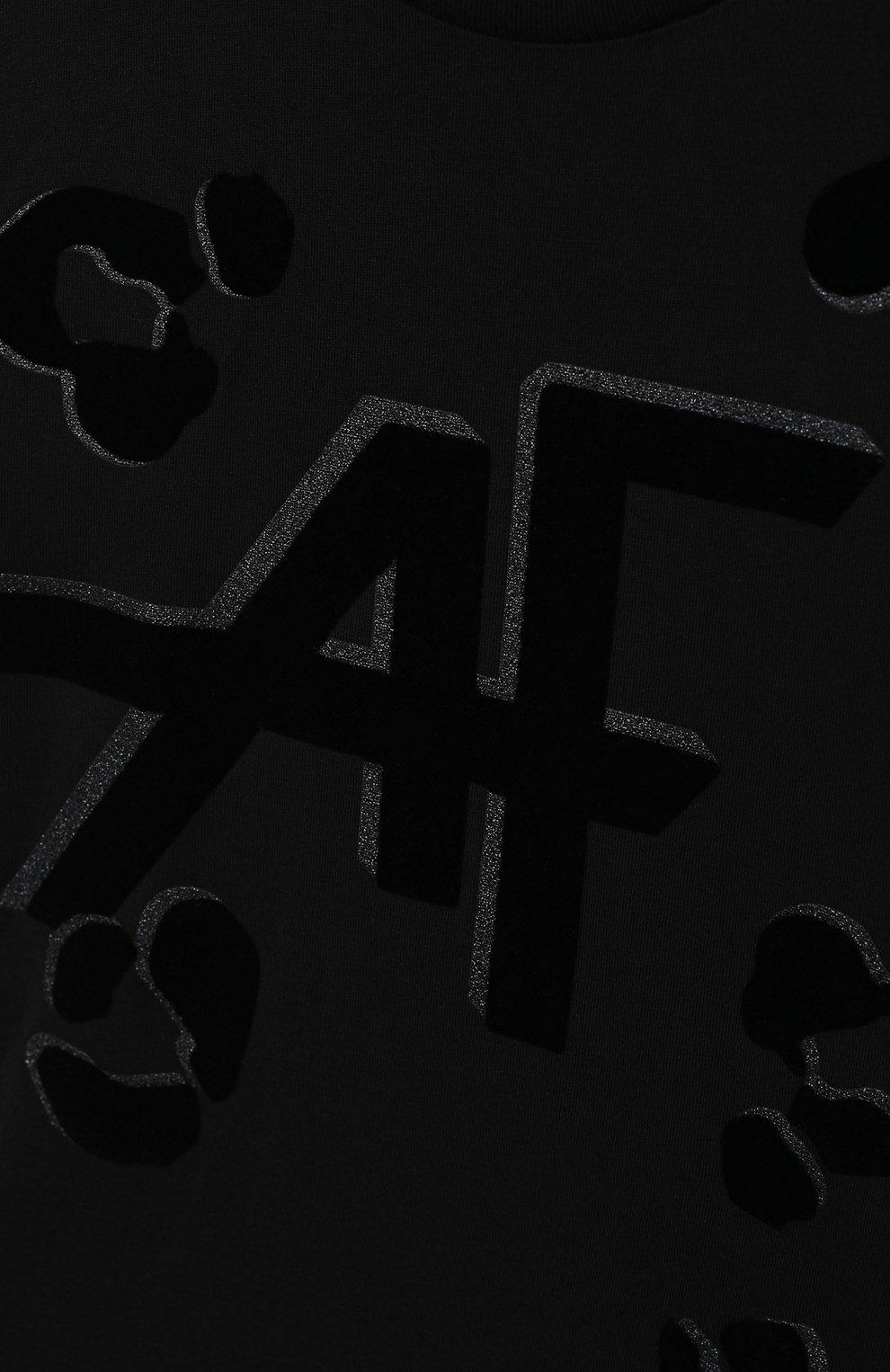 Детская хлопковая футболка ALBERTA FERRETTI JUNIOR черного цвета, арт. 025391   Фото 3