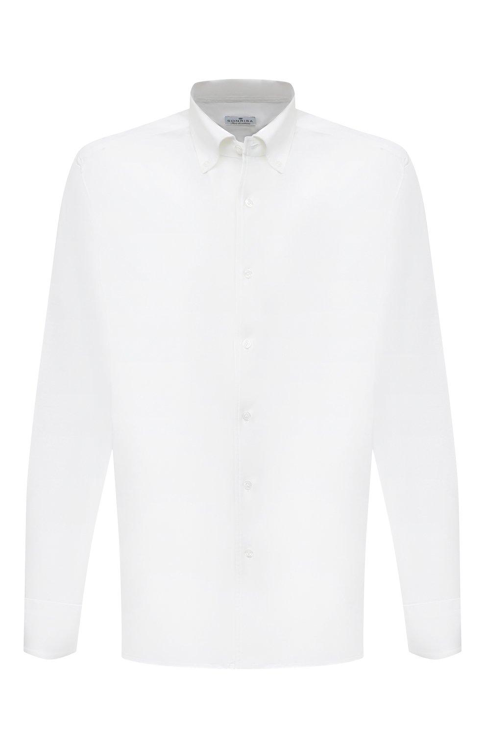 Мужская хлопковая рубашка SONRISA белого цвета, арт. IFJ7167/J133   Фото 1 (Big sizes: Big Sizes; Рукава: Длинные; Рубашки М: Regular Fit; Случай: Повседневный; Длина (для топов): Стандартные; Материал внешний: Хлопок; Стили: Кэжуэл)