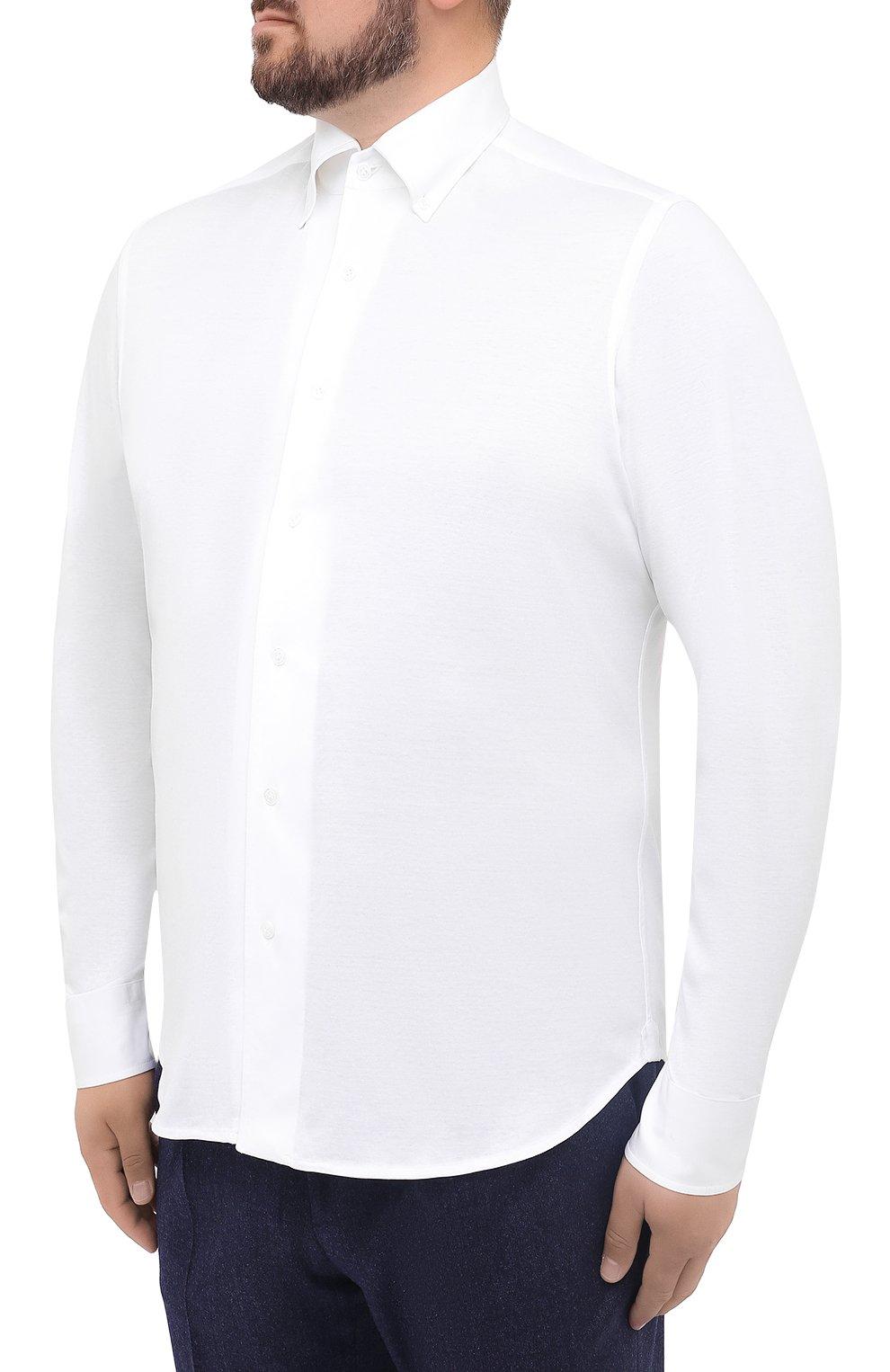 Мужская хлопковая рубашка SONRISA белого цвета, арт. IFJ7167/J133   Фото 3 (Big sizes: Big Sizes; Рукава: Длинные; Рубашки М: Regular Fit; Случай: Повседневный; Длина (для топов): Стандартные; Материал внешний: Хлопок; Стили: Кэжуэл)