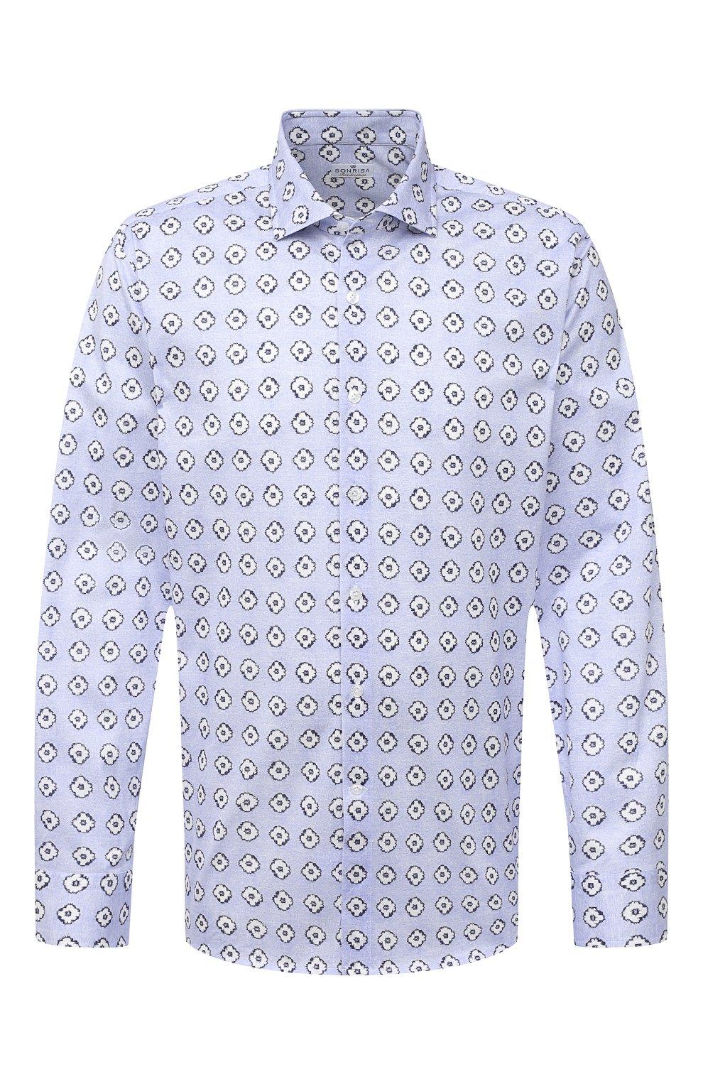 Мужская хлопковая рубашка SONRISA голубого цвета, арт. IFJ15/J812 | Фото 1