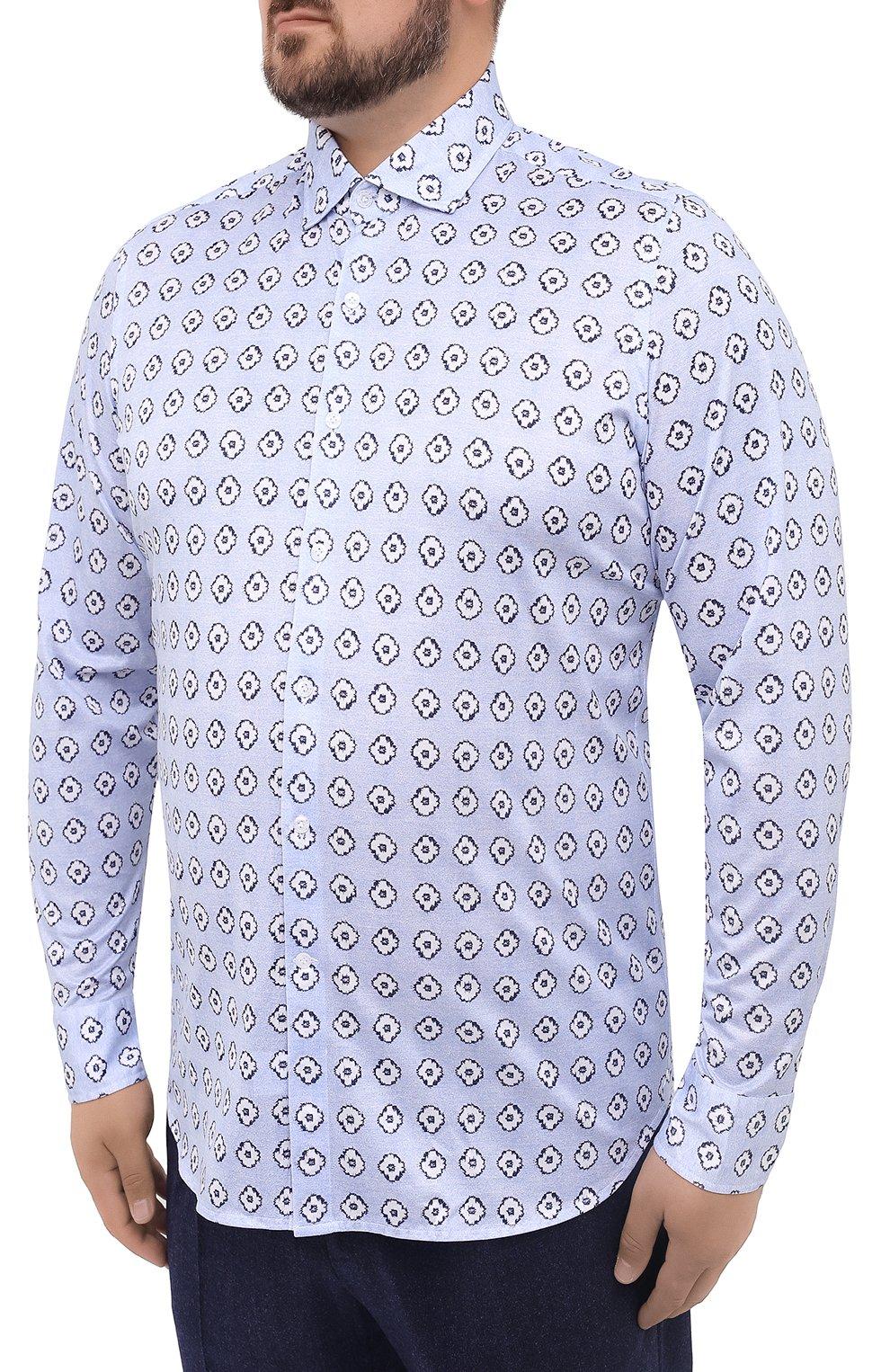 Мужская хлопковая рубашка SONRISA голубого цвета, арт. IFJ15/J812 | Фото 3