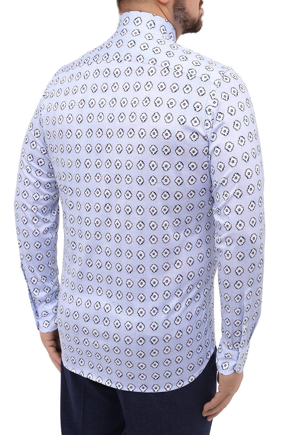 Мужская хлопковая рубашка SONRISA голубого цвета, арт. IFJ15/J812 | Фото 4