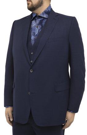 Мужской шерстяной костюм-тройка EDUARD DRESSLER синего цвета, арт. N283/16029 | Фото 2